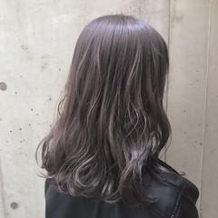 セミロング ナチュラル ゆるふわ ラベンダー ヘアスタイルや髪型の写真・画像