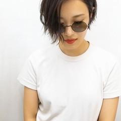 ハンサムショート 黒髪 ショート モード ヘアスタイルや髪型の写真・画像