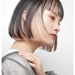 ブリーチ ボブ モード コントラストハイライト ヘアスタイルや髪型の写真・画像