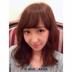 モテ髪 ウェーブ コンサバ ミディアム ヘアスタイルや髪型の写真・画像