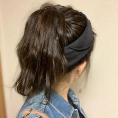 ロング ポニーアレンジ ポニーテール ナチュラル ヘアスタイルや髪型の写真・画像