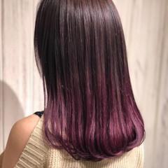 ガーリー ブリーチ セミロング ラベンダーピンク ヘアスタイルや髪型の写真・画像