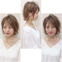 ウェーブ デート ナチュラル ショート ヘアスタイルや髪型の写真・画像