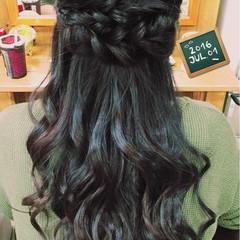 ヘアアレンジ ロング ハーフアップ 黒髪 ヘアスタイルや髪型の写真・画像