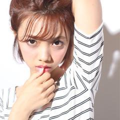 ヘアアレンジ 夏 丸顔 セミロング ヘアスタイルや髪型の写真・画像