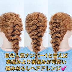 切りっぱなしボブ ロング 編みおろしヘア 編み込みヘア ヘアスタイルや髪型の写真・画像