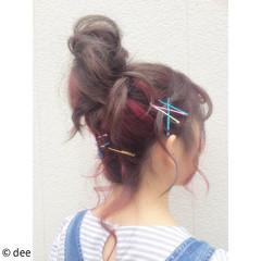 アッシュ お団子 ショート ヘアアレンジ ヘアスタイルや髪型の写真・画像