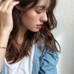 デジタルパーマ イルミナカラー グレージュ セミロング ヘアスタイルや髪型の写真・画像