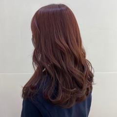 ピンクブラウン ガーリー レッドブラウン セミロング ヘアスタイルや髪型の写真・画像