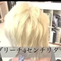 ホワイトブリーチ モード ブリーチ ショート ヘアスタイルや髪型の写真・画像