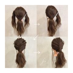 簡単ヘアアレンジ 波ウェーブ ローポニーテール ロング ヘアスタイルや髪型の写真・画像