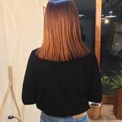 ロブ ブリーチ ヘアアレンジ オレンジ ヘアスタイルや髪型の写真・画像