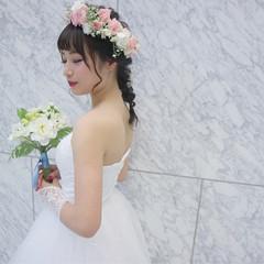 結婚式 上品 冬 セミロング ヘアスタイルや髪型の写真・画像