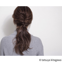 ロング 外国人風 ポニーテール ローポニーテール ヘアスタイルや髪型の写真・画像