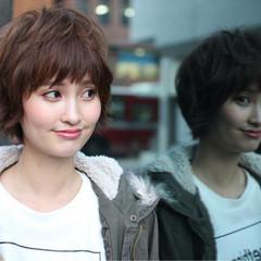 ストリート 小顔 似合わせ ショート ヘアスタイルや髪型の写真・画像