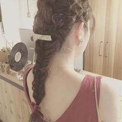 外国人風 ロング 編み込み フェミニン ヘアスタイルや髪型の写真・画像