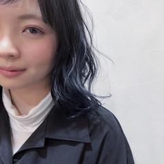 モード グラデーションカラー ミディアム ブルー ヘアスタイルや髪型の写真・画像