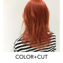ミディアム ヘアアレンジ 暖色 オレンジ ヘアスタイルや髪型の写真・画像