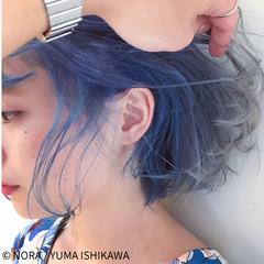 インナーカラー ガーリー ボブ マーメイドアッシュ ヘアスタイルや髪型の写真・画像