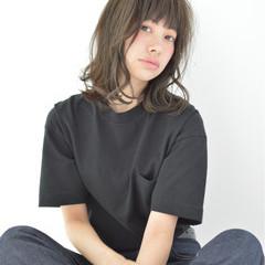 暗髪 パーマ ミディアム ストリート ヘアスタイルや髪型の写真・画像