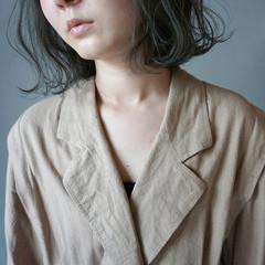 切りっぱなしボブ ナチュラル 透明感カラー くすみカラー ヘアスタイルや髪型の写真・画像