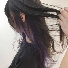 イルミナカラー ロング インナーカラーパープル インナーカラー ヘアスタイルや髪型の写真・画像