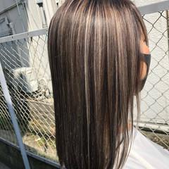 大人ハイライト 外国人風 グラデーションカラー セミロング ヘアスタイルや髪型の写真・画像