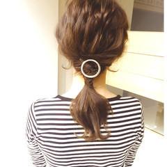 大人かわいい セミロング 波ウェーブ ヘアアレンジ ヘアスタイルや髪型の写真・画像