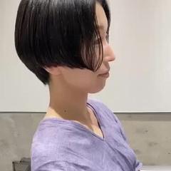 ナチュラル ハンサムショート ショートヘア 黒髪ショート ヘアスタイルや髪型の写真・画像