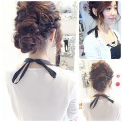 ミディアム ヘアアレンジ アップスタイル 大人かわいい ヘアスタイルや髪型の写真・画像