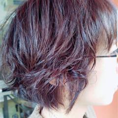 ナチュラル ラベンダーピンク ショート パーマ ヘアスタイルや髪型の写真・画像