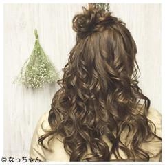 ハーフアップ パーティ ヘアアレンジ お団子 ヘアスタイルや髪型の写真・画像