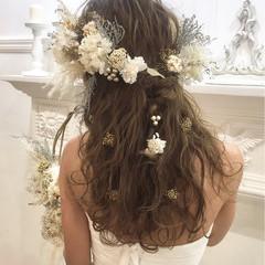 ナチュラル ゆるふわ ふわふわ 結婚式 ヘアスタイルや髪型の写真・画像
