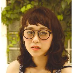 オン眉 パーマ ミディアム 外国人風 ヘアスタイルや髪型の写真・画像