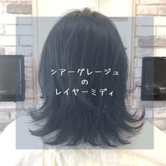 グレージュ 前髪 ミディアム ストレート ヘアスタイルや髪型の写真・画像