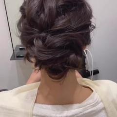 ヘアアレンジ シニヨン 簡単ヘアアレンジ セミロング ヘアスタイルや髪型の写真・画像
