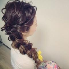 ヘアアレンジ 大人かわいい 編み込み 結婚式 ヘアスタイルや髪型の写真・画像
