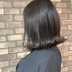 透明感 外ハネ ブルーアッシュ ボブ ヘアスタイルや髪型の写真・画像