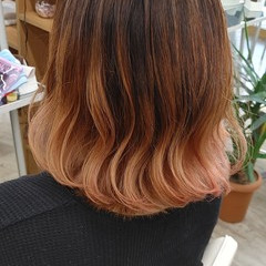 大人かわいい ピンク フェミニン バレイヤージュ ヘアスタイルや髪型の写真・画像