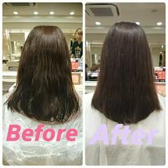 パーマ 縮毛矯正 フェミニン セミロング ヘアスタイルや髪型の写真・画像