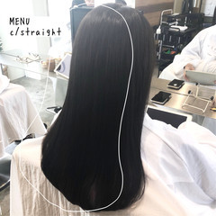 グレージュ 縮毛矯正 前髪 ロング ヘアスタイルや髪型の写真・画像