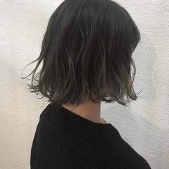 グラデーションカラー ハイライト ボブ イルミナカラー ヘアスタイルや髪型の写真・画像