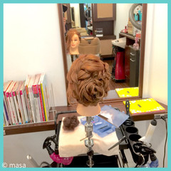 ヘアアレンジ セミロング 結婚式 アップスタイル ヘアスタイルや髪型の写真・画像