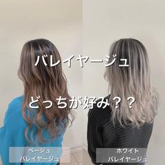ホワイトカラー ベージュ 透け感ヘア エレガント ヘアスタイルや髪型の写真・画像