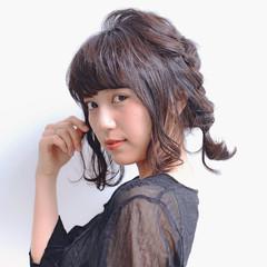 セミロング アッシュ パーマ 黒髪 ヘアスタイルや髪型の写真・画像