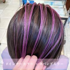 ボブ ストリート 切りっぱなしボブ ピンクバイオレット ヘアスタイルや髪型の写真・画像