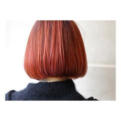 ボブ オレンジ ガーリー 大人女子 ヘアスタイルや髪型の写真・画像