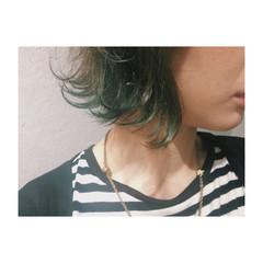 外国人風 ボブ インナーカラー ハイライト ヘアスタイルや髪型の写真・画像