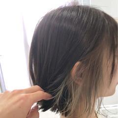 夏 大人かわいい インナーカラー ボブ ヘアスタイルや髪型の写真・画像