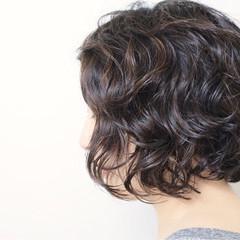 暗髪 アッシュ ボブ ナチュラル ヘアスタイルや髪型の写真・画像